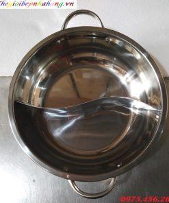 Giá bán nồi lẩu inox 2 ngăn tròn dùng cho nhà hàng tại hà nội