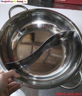 Nồi lẩu inox 2 ngăn loại tròn kích thước 27cm dùng cho nhà hàng giá rẻ nhất