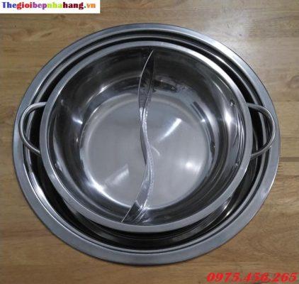 Bộ khung đỡ bếp lẩu từ âm bàn tròn và nồi nấu lẩu inox tròn giá rẻ nhất