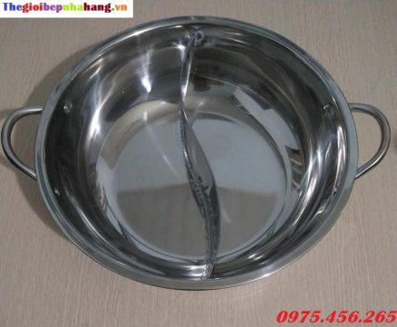 Giá bán nồi ( xoong) nấu lẩu inox 2 ngăn tròn tại hà nội
