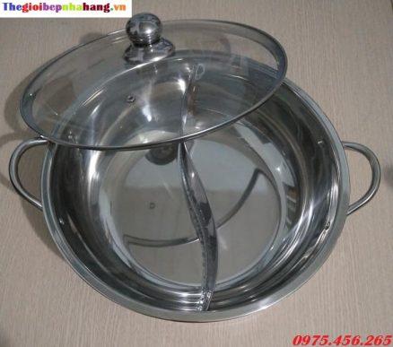 Nồi ( xoong) nấu lẩu inox 2 ngăn tròn giá rẻ nhất tại hà nội