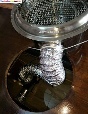 Cách lắp đặt ống bạc mềm cho bếp nướng than hoa âm bàn hút âm