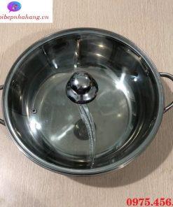 Giá bán nồi - xoong nấu lẩu inox 2 ngăn tròn có nắp nhà hàng , quán ăn giá rẻ